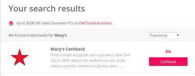 search results in topcashback