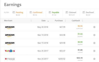 my earnings in topcashback