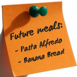 orange post it note with future meals list