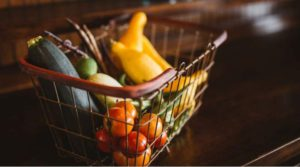 How to Save on Grocery shopping. cart with vegetables