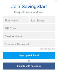 SavingStar Sign up form