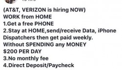 Ad about AT&T and verizon hiring work from home jobs