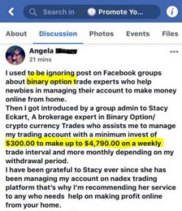 Scam binary offer on Facebook
