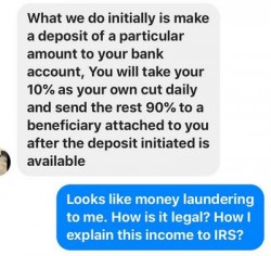offer to send 90% of money to someone else and keep 10% as a fee