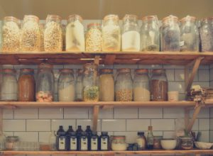 jars on pantry shelves