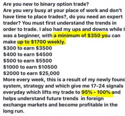 scammer's ad on binary option