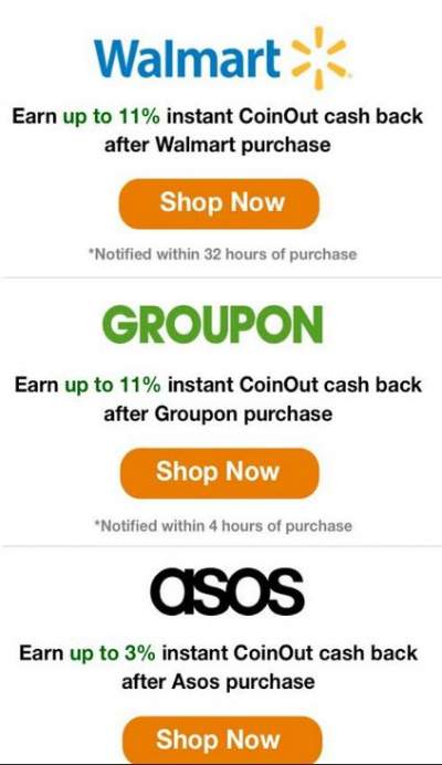 Cashback eligible retailers at coinout