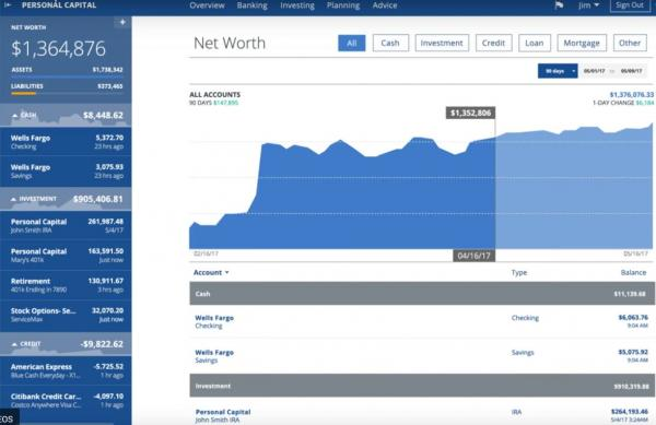 Net Worth tracking screen