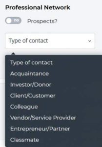 professional contact categories on Webtalk
