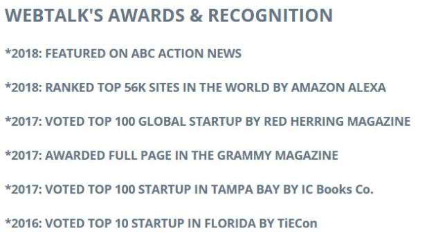 Webtalk's rewards and recognitions