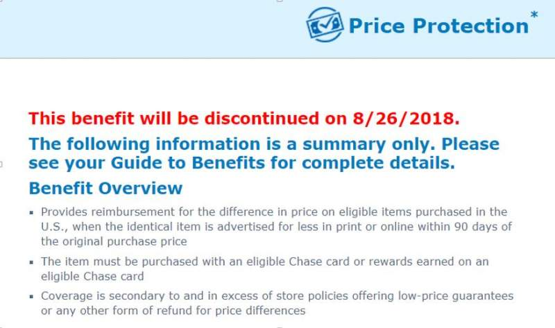 Chase canceled price drop protection policy