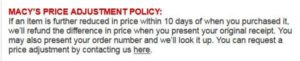 Macy's Price Adjustment Policy