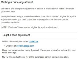 GAP Price adjustment policy