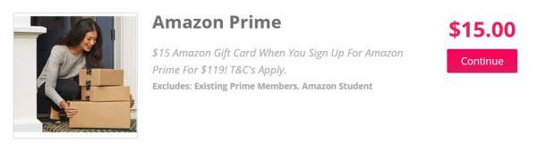 topcashback offer of $15 discount on Amazon Prime