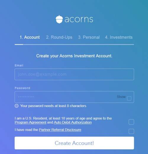 Open Acorns account screen