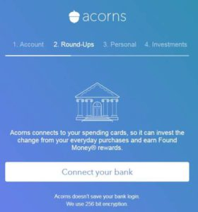 connect your bank account to Acorns screen