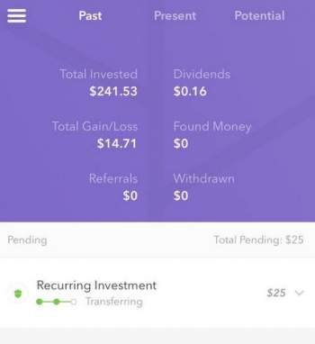 the Past tab screen from Acorns app