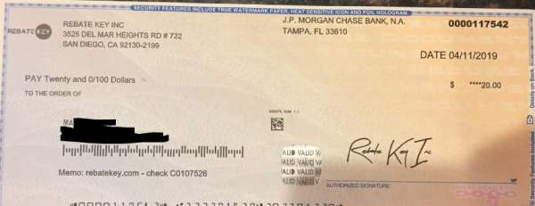 Bonus check from Rebate Key