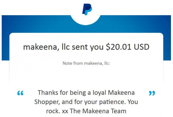 Makeena app Payment Proof - produce coupons worked