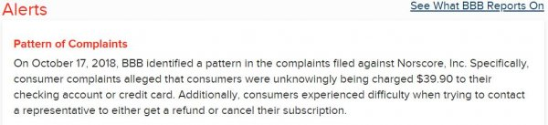 Customer complaints from BBB