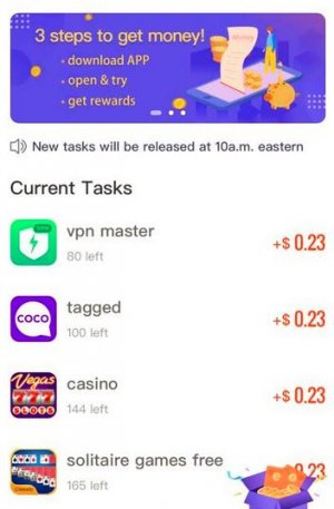Tasks list for iMoney first time user