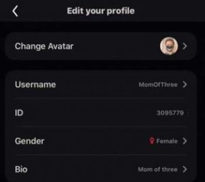 User profile setting
