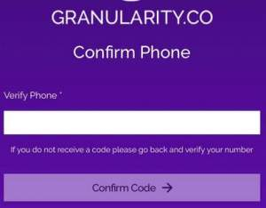 Verify your number with Granularity app